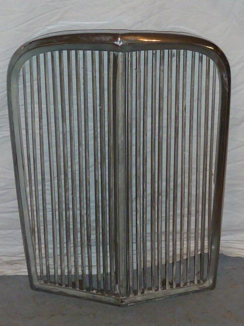 "VINTAGE CHROME GRILL FROM ANTIQUE CAR ""V"" SHAPED - 4"