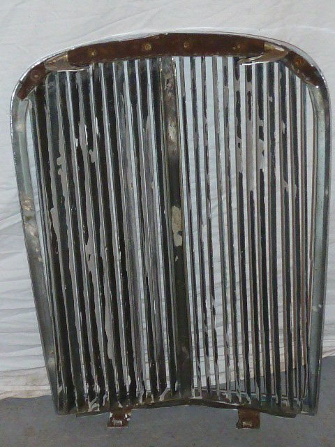 "VINTAGE CHROME GRILL FROM ANTIQUE CAR ""V"" SHAPED - 5"