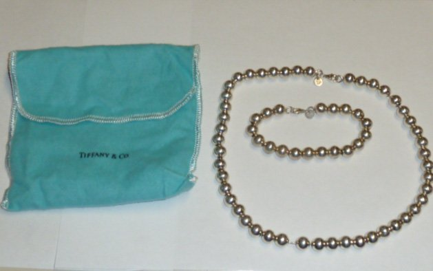 TIFFANY STERLING BEAD NECKLACE & MATCHING BRACELET