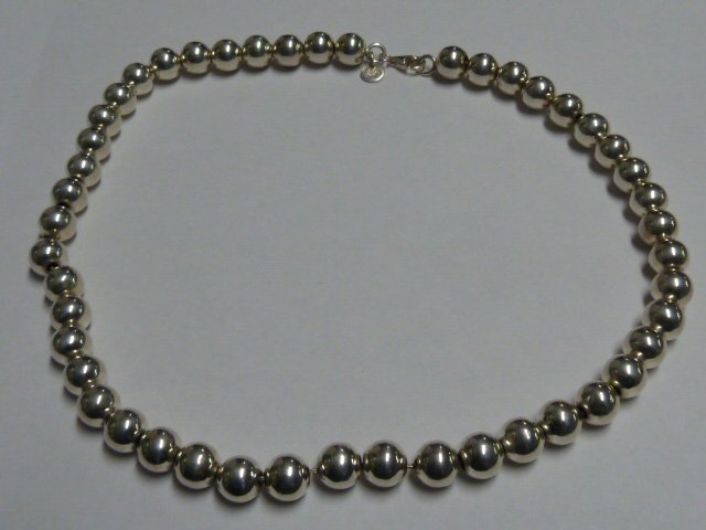 TIFFANY STERLING BEAD NECKLACE & MATCHING BRACELET - 4