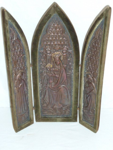 C1900 RELIGIOUS TRIPTYCH OF MARY & JESUS W/ 2 ANGELS