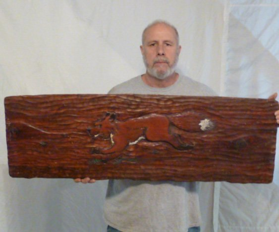 CARVED WOODEN PLANK DISPLAY SIGN FULL BODIED FOX