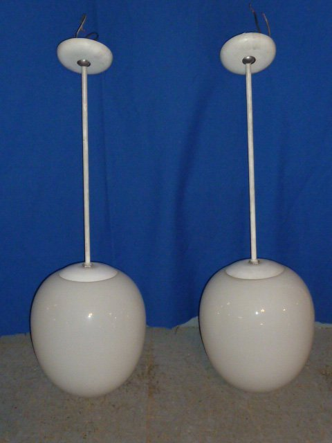 "PR MID-CENTURY PRESCOLITE GLASS ""EGG SHAPED"" LIGHTS"