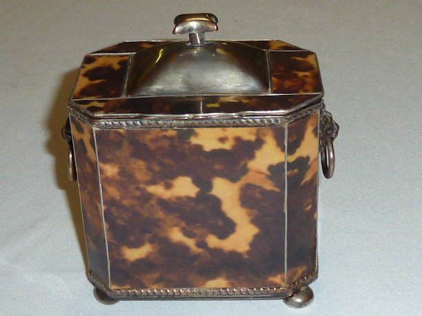 ANTIQUE FAUX TORTOISE SHELL TEA CADDY BUN FEET