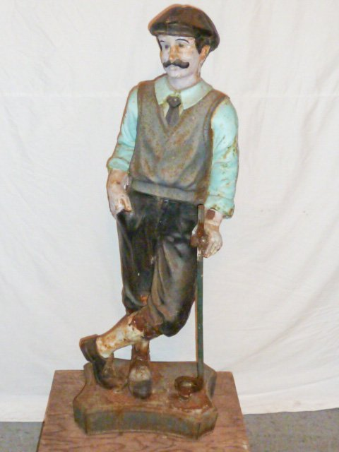 CAST IRON FULL FIGURE OF MAN GOLFING