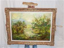 EDITH MONTLACK OC LANDSCAPE TREES BY STREAM SIGNED
