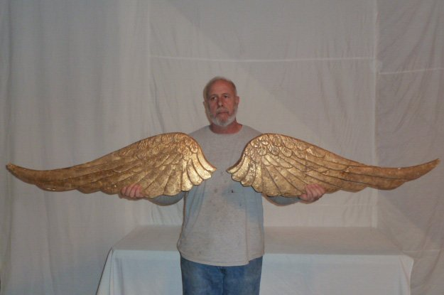 LARGE PAIR OF GOLD GILT PAINTED ANGEL WINGS