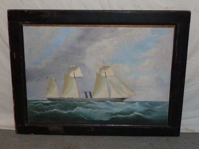 19TH C OIL/CANVAS CLIPPER SHIP FLYING AMERICAN FLAG
