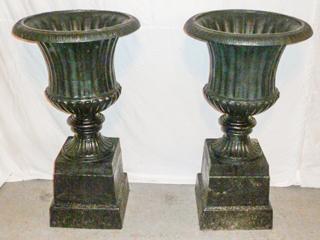 PAIR VINTAGE CAST IRON  FRESHLY PAINTED GARDEN URNS