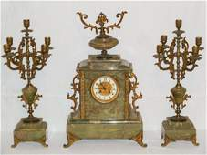 ANTIQUE FRENCH MARBLE GILT METAL GARNITURE CLOCK SET