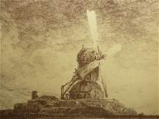 ANTIQUE STEEL ENGRAVING OF A WINDMILL ON A HILL
