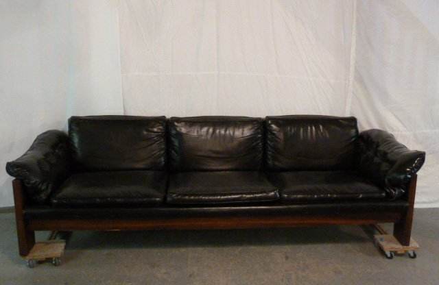 114: Rosewood & Black Leather Mid Century Campaign Sofa