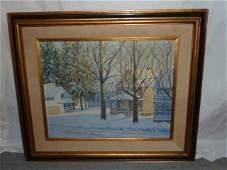 Winter landscape painting signed W. Lester Stevens