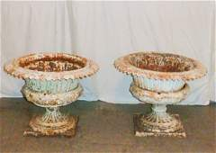 Pair, 3-pc Victorian era cast iron urns