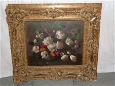"""19th c still life """"Flowers in Vase"""" illegibly signed"""