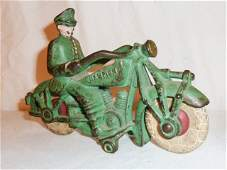 1930s Hubley cast iron Champion motorcycle toy