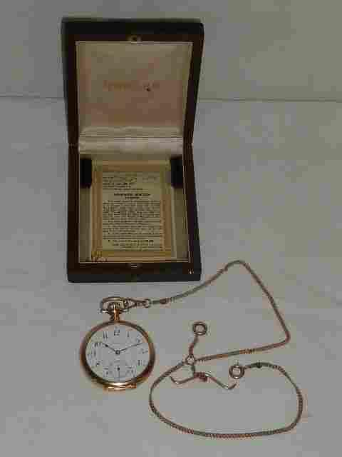 14kt Howard 21 jewel pocket watch & 14kt gold chain