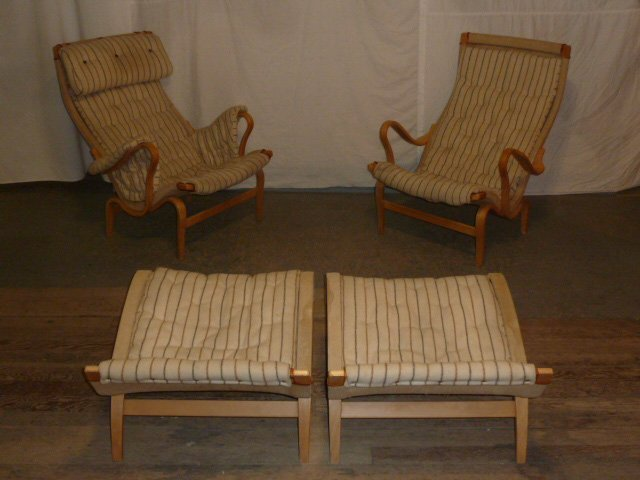 Pr. Signed Bruno Mathsson lounge chairs & ottoman