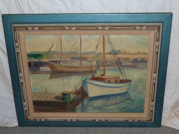 Anthony Thieme Painting on Board Harbor Scene