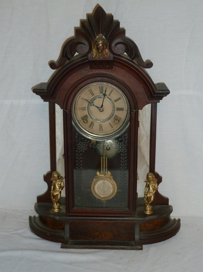 Victorian Statue Mirrored Jenny Lind Mantle Clock