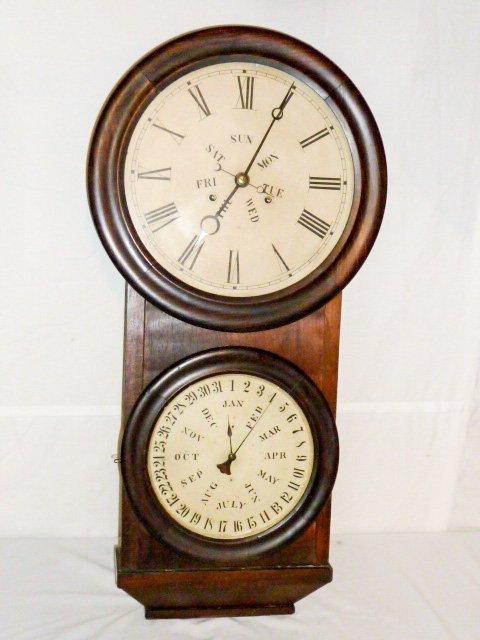 Welch Double Dial Calendar Clock B.B. Lewis