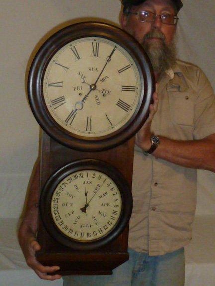 Welch Double Dial Calendar Clock B.B. Lewis - 6
