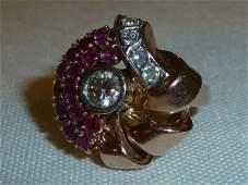 Antique Art Deco Pink Gold Diamond & Rubies Retro Ring