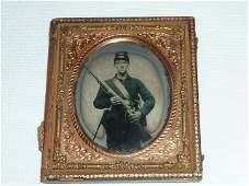 Civil War tin-type Armed Union Soldier w/Rain Cover Hat