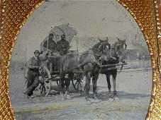 Civil War tin-type 2 Union Soldiers in Conestoga Wagon