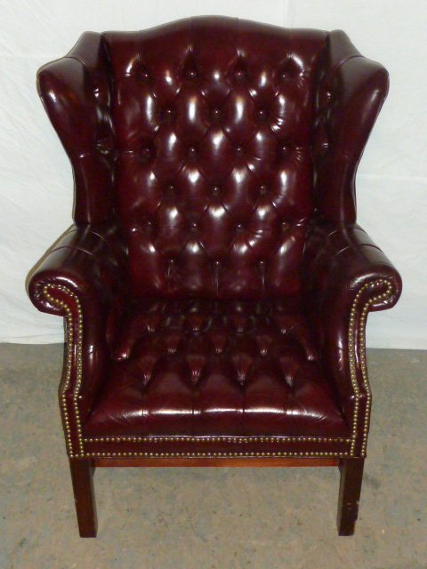 Leather Wing Back Tufted Chair