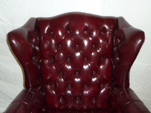 Leather Wing Back Tufted Chair - 2