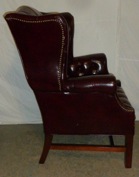 Leather Wing Back Tufted Chair - 4