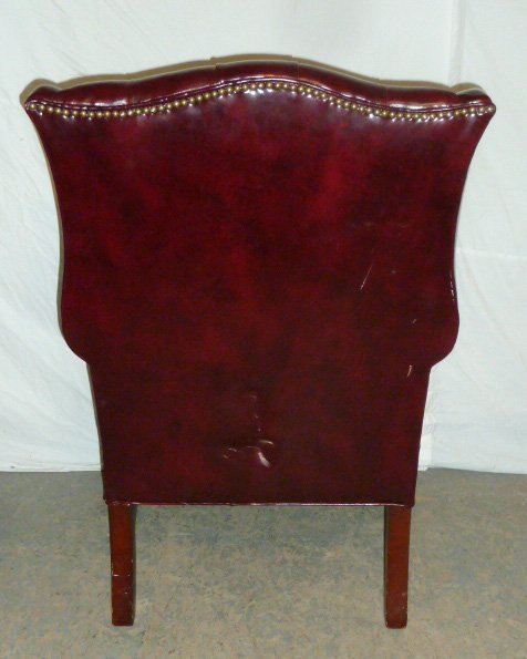 Leather Wing Back Tufted Chair - 5