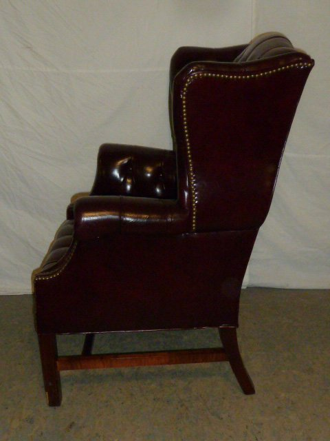 Leather Wing Back Tufted Chair - 6
