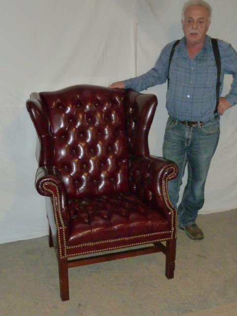 Leather Wing Back Tufted Chair - 7