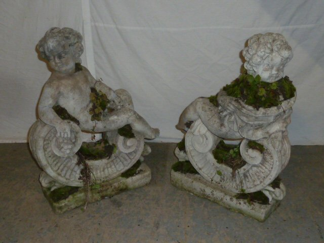 Pair Poured Stone Cherub Garden Ornaments