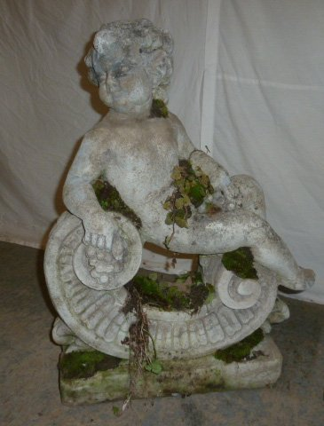 Pair Poured Stone Cherub Garden Ornaments - 2