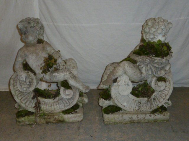 Pair Poured Stone Cherub Garden Ornaments - 4