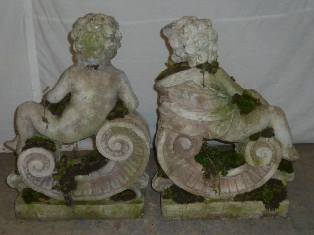 Pair Poured Stone Cherub Garden Ornaments - 5