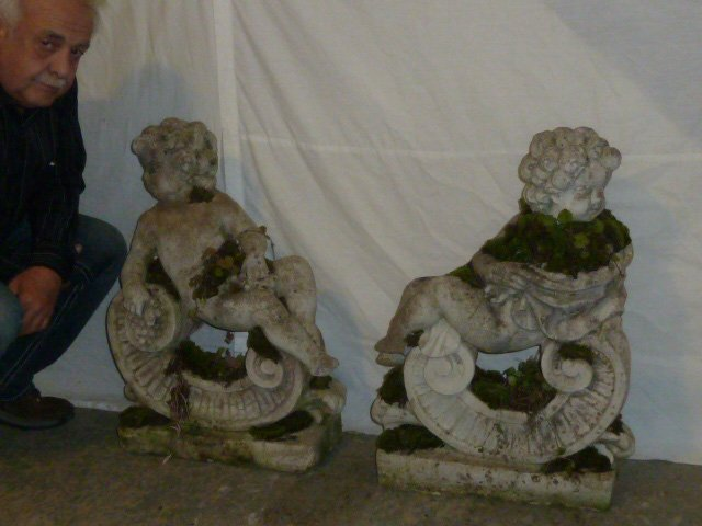 Pair Poured Stone Cherub Garden Ornaments - 7