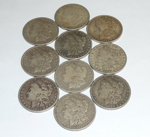 10 Morgan & Peace Silver Dollars 1st of 3 in this sale