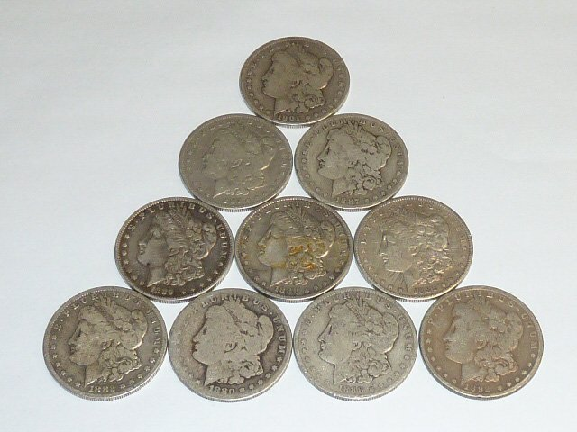 10 Morgan Silver Dollars 3rd of 3 in this sale