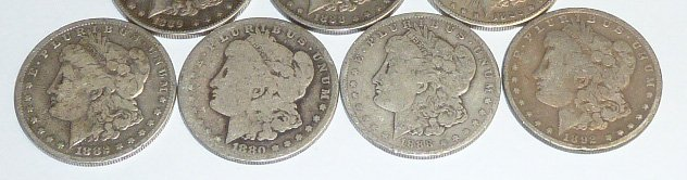 10 Morgan Silver Dollars 3rd of 3 in this sale - 3