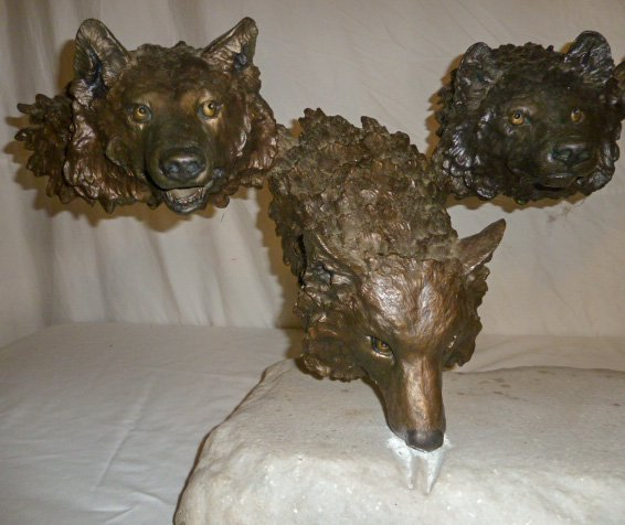 Mark Hopkins Bronze Sculpture Wolf Pack in the Snow - 2