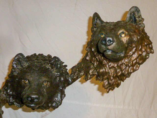Mark Hopkins Bronze Sculpture Wolf Pack in the Snow - 3