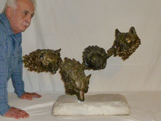 Mark Hopkins Bronze Sculpture Wolf Pack in the Snow - 6