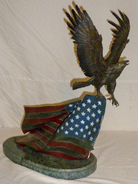 Signed Renzo Bronze  Eagle w/ Flag Sculpture
