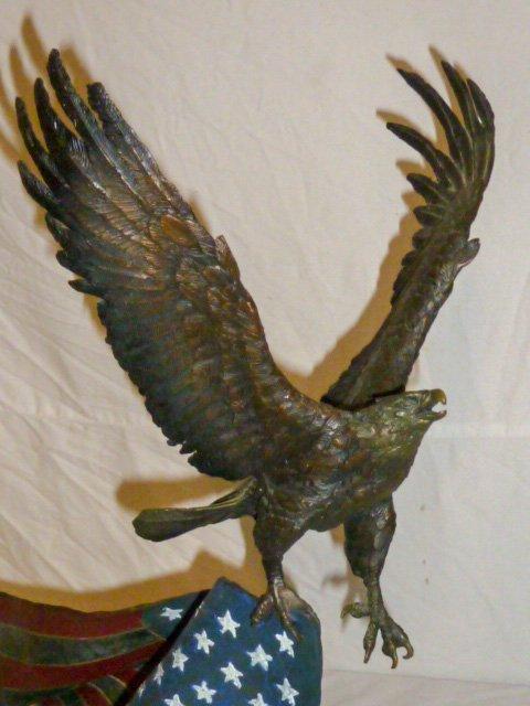 Signed Renzo Bronze  Eagle w/ Flag Sculpture - 2