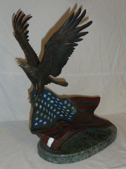 Signed Renzo Bronze  Eagle w/ Flag Sculpture - 4