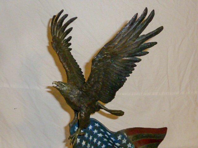 Signed Renzo Bronze  Eagle w/ Flag Sculpture - 5